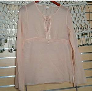 Joie Senorita pink silk/cotton embroidery top